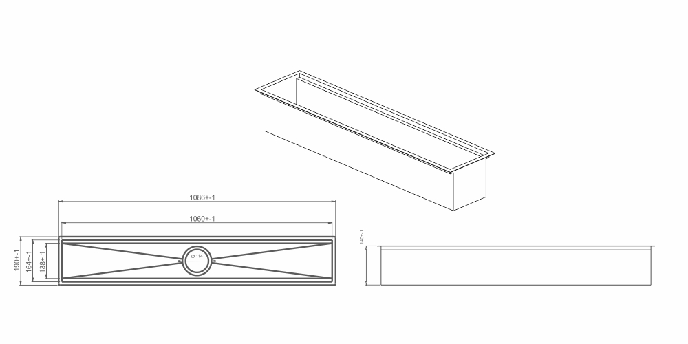 Imagem das dimensoes do produto CANAL ORGANIZADOR ÚMIDO 1050