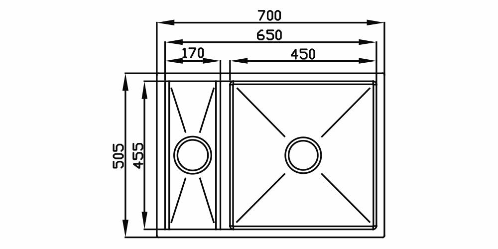 Imagem das dimensoes do produto QUADRATINO REVERSÍVEL COM CANAL 450