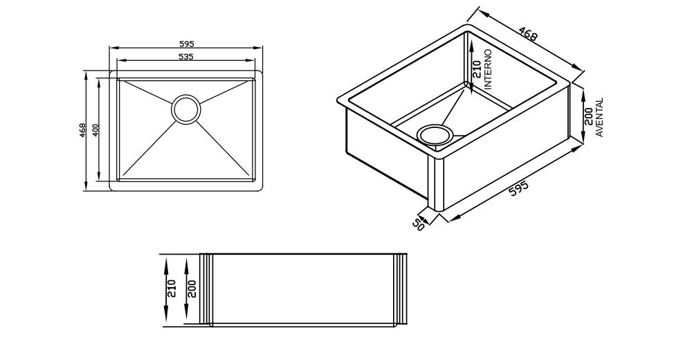 Imagem das dimensoes do produto QUADRATINO FARM SINK STEEL