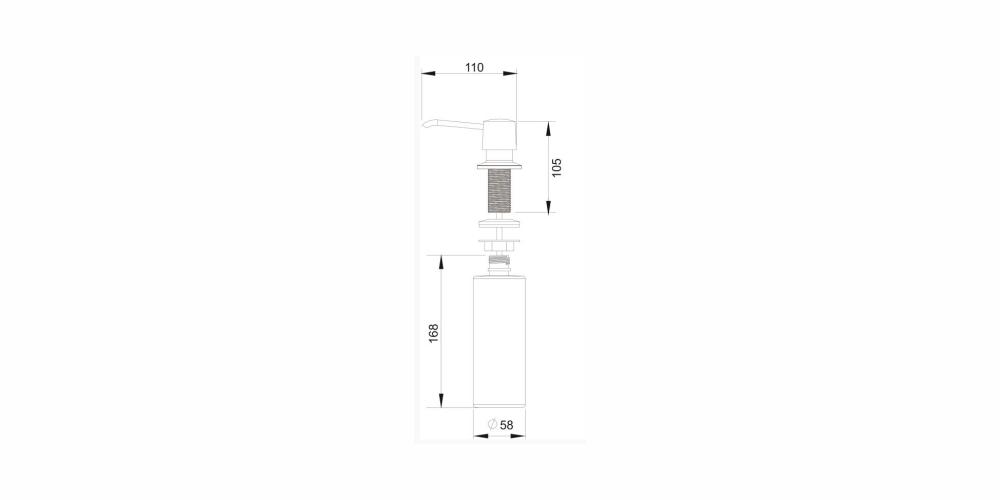 Imagem das dimensoes do produto DOSADOR DE DETERGENTE LÍQUIDO 350ML