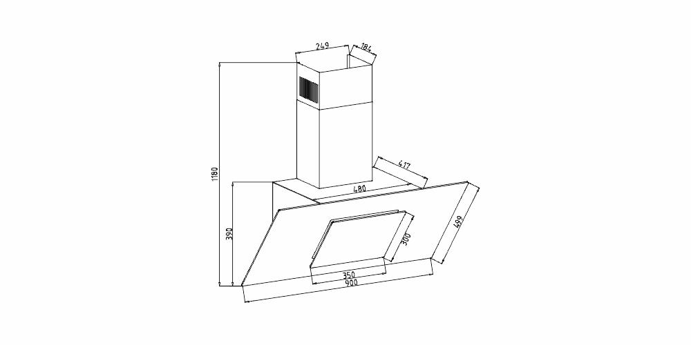 Imagem das dimensoes do produto COIFA MONTREAL INCLINADA DE PAREDE 90 CM