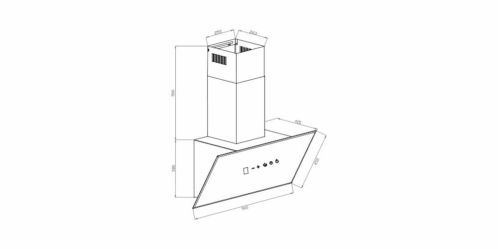 Imagem das dimensoes do produto COIFA LONDRES INCLINADA DE PAREDE 90 CM