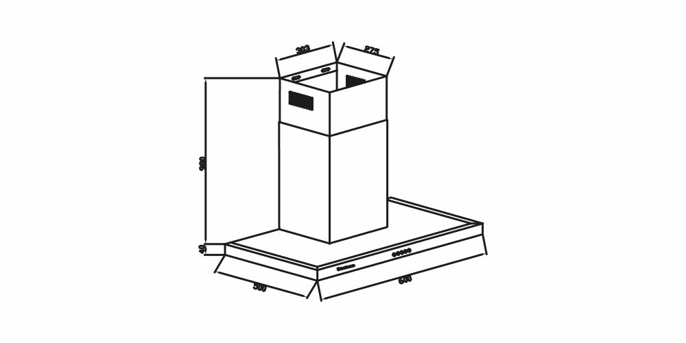 Imagem das dimensoes do produto COIFA BARCELONA DE PAREDE 60 CM