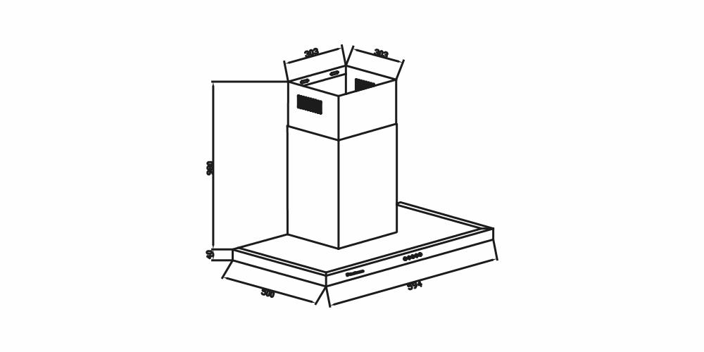 Imagem das dimensoes do produto COIFA BARCELONA DE PAREDE 90 CM