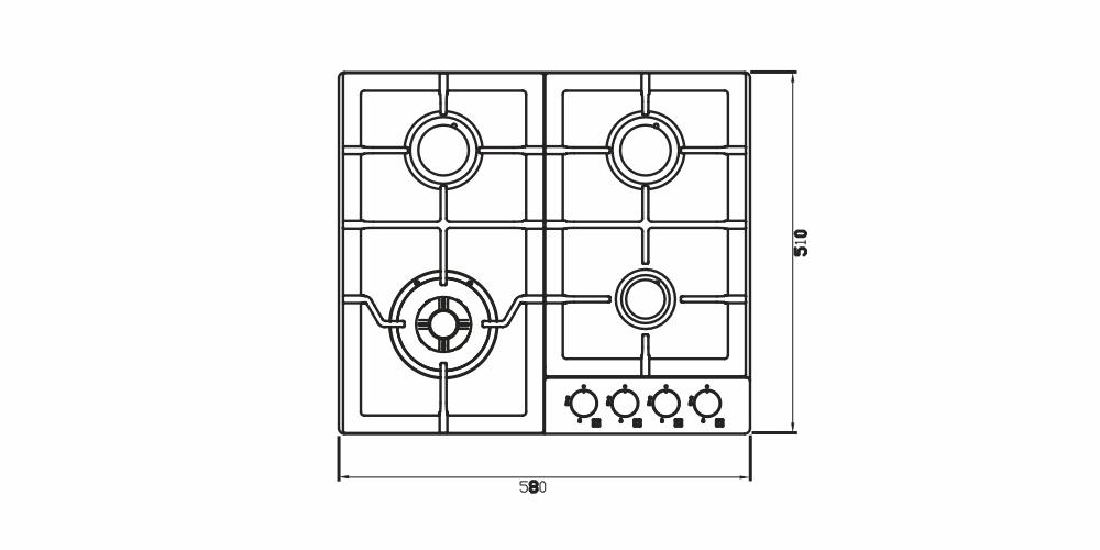 Imagem das dimensoes do produto COOKTOP ZURIQUE AÇO INOX 60 CM