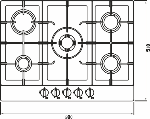 Imagem das dimensoes do produto COOKTOP ZURIQUE AÇO INOX 70 CM