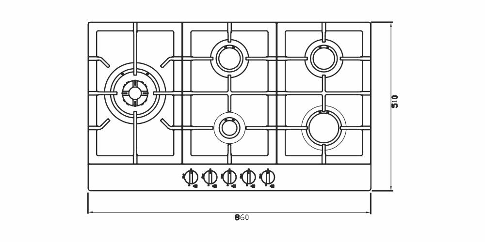 Imagem das dimensoes do produto COOKTOP ZURIQUE AÇO INOX 90 CM