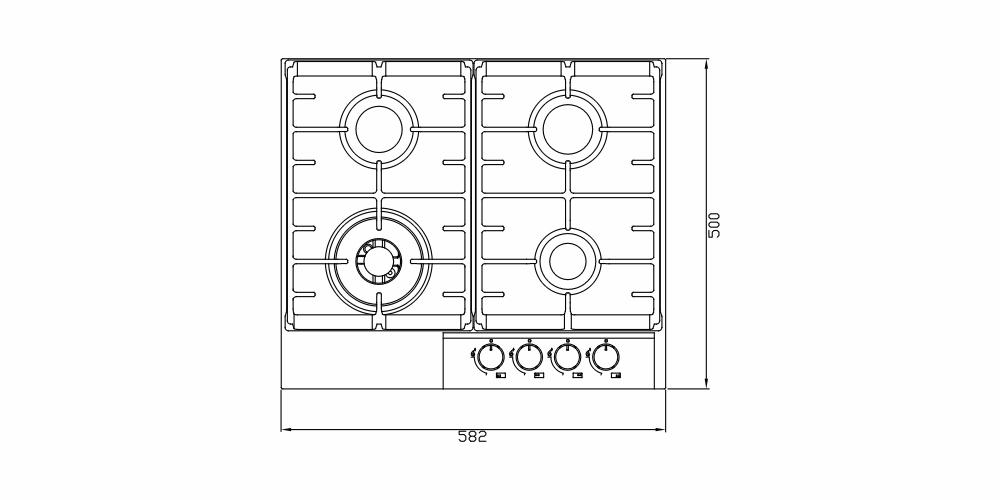 Imagem das dimensoes do produto COOKTOP MONTREAL VIDRO 60 CM