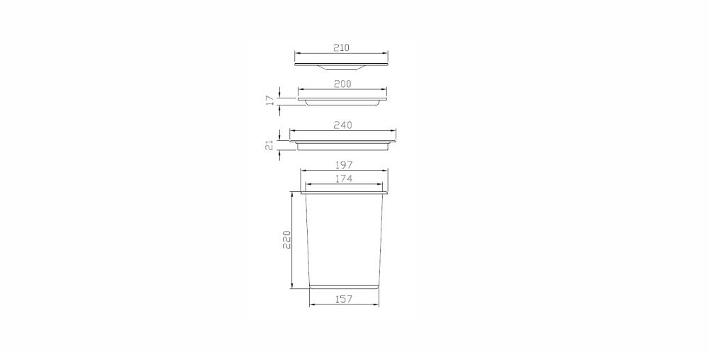 Imagem das dimensoes do produto LIXEIRA REDONDA DE EMBUTIR EM INOX ACETINADO COM BALDE PLÁSTICO DE 5L