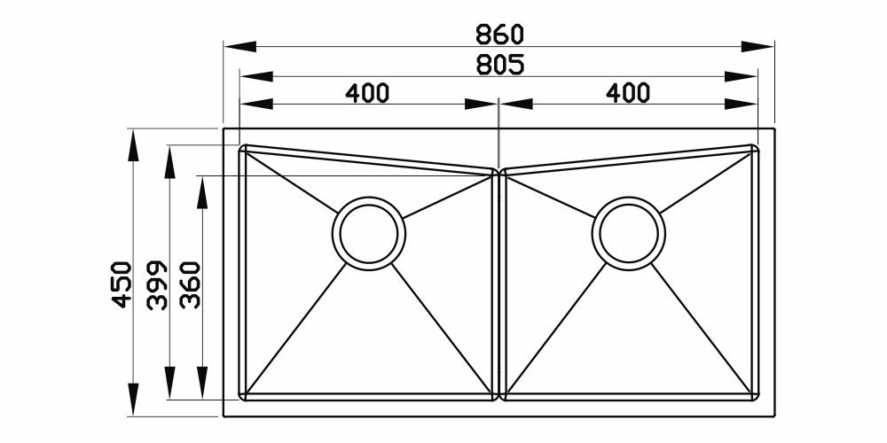 Imagem das dimensoes do produto QUADRATINO DUPLA AS