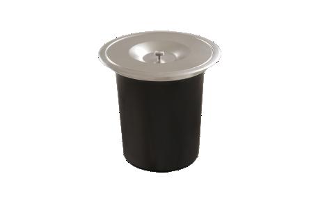 Imagem do produto LIXEIRA REDONDA DE EMBUTIR EM INOX ACETINADO COM BALDE PLÁSTICO DE 5L