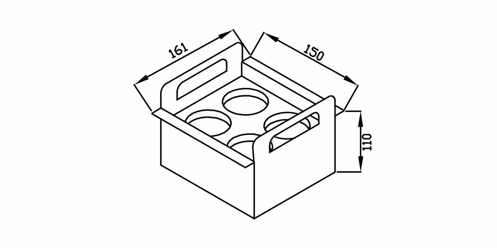 Imagem das dimensoes do produto PORTA CONDIMENTOS 150